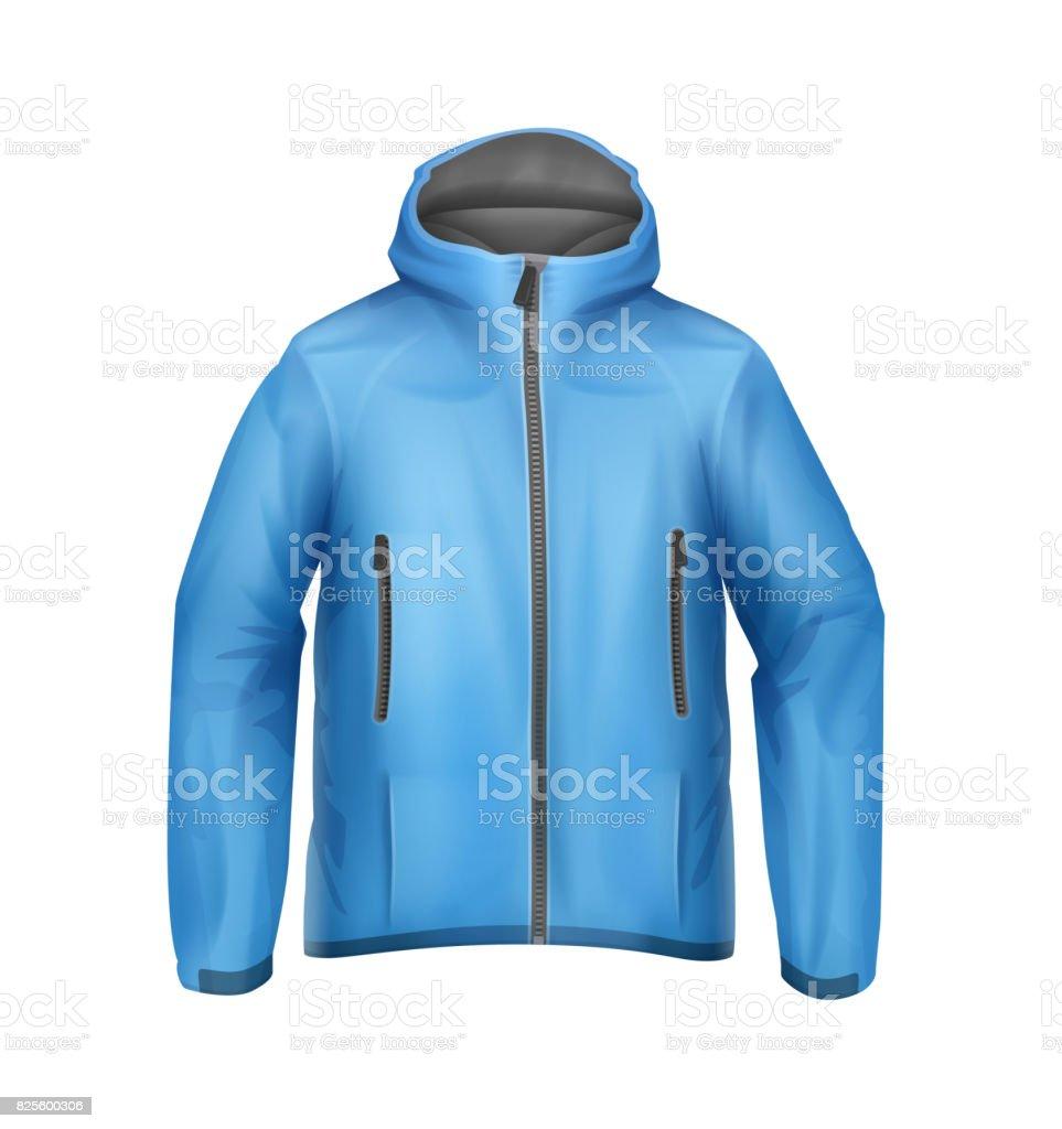 Blue unisex jacket vector art illustration