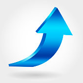 Blue up arrow and neutral white background. 3D illustration