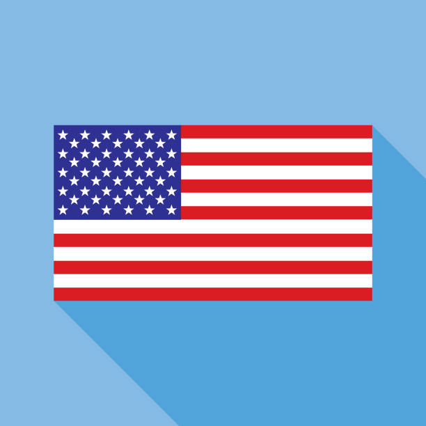 Blue USA Flag icon Vector illustration of a flag of the United States with shadow on a sky blue background. american flag illustrations stock illustrations