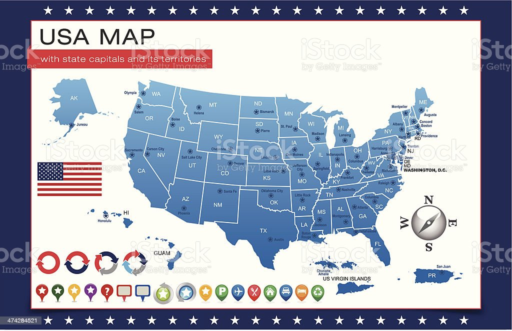 Blue Usa Map Outline With State Capitals And Its Territories Stock - Usa state map with capitals