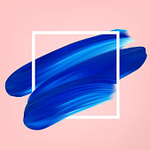 Blue vector abstract smear on pink. Female girly icon. Paint brush stroke in frame, banner template.