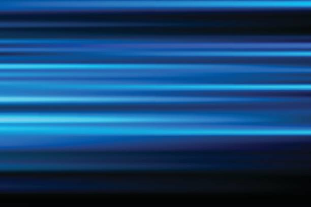 blue vector abstract speed motion blur of night lights in the city long exposure background vector art illustration