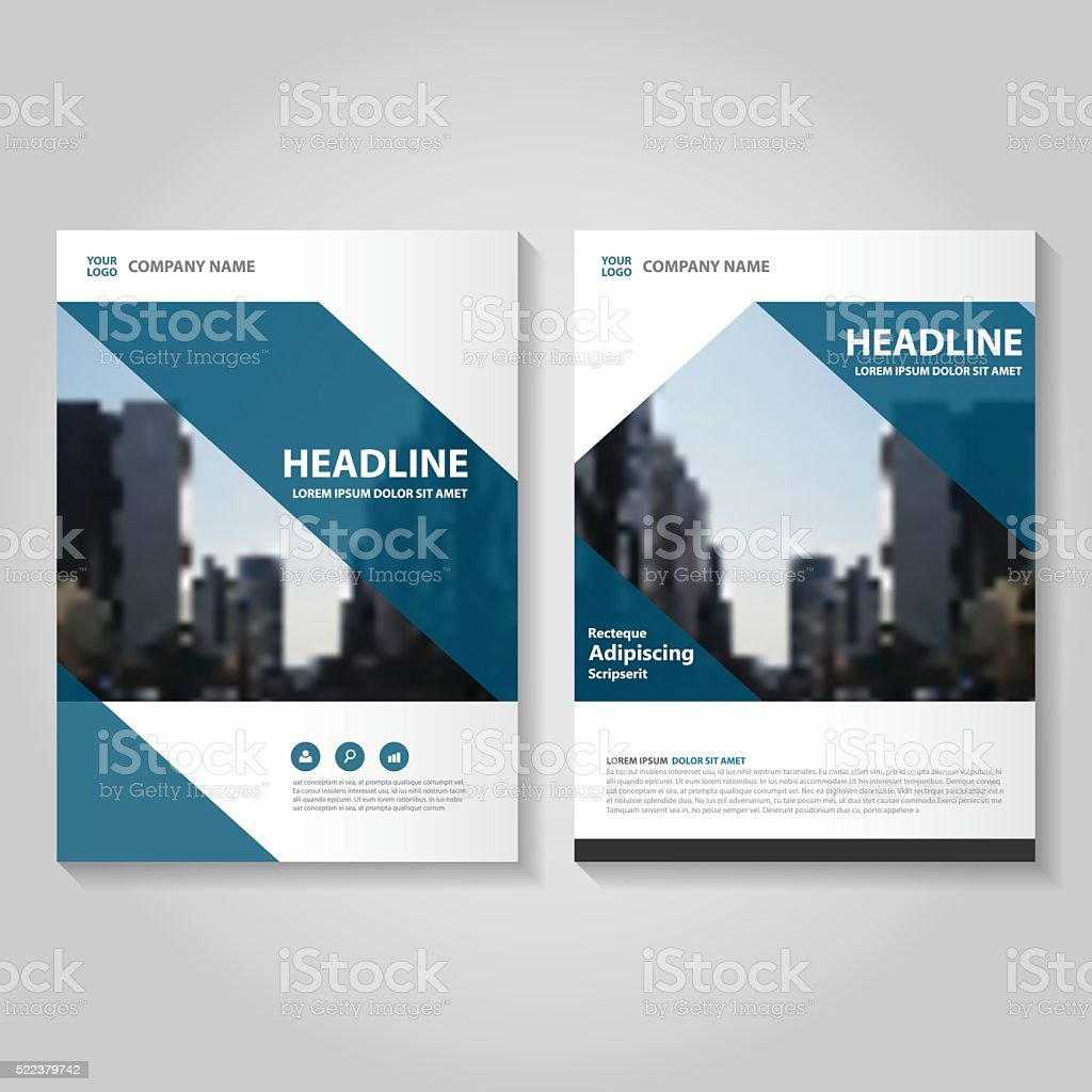 Blue Vector Annual Report Leaflet Brochure Flyer Template Design ...