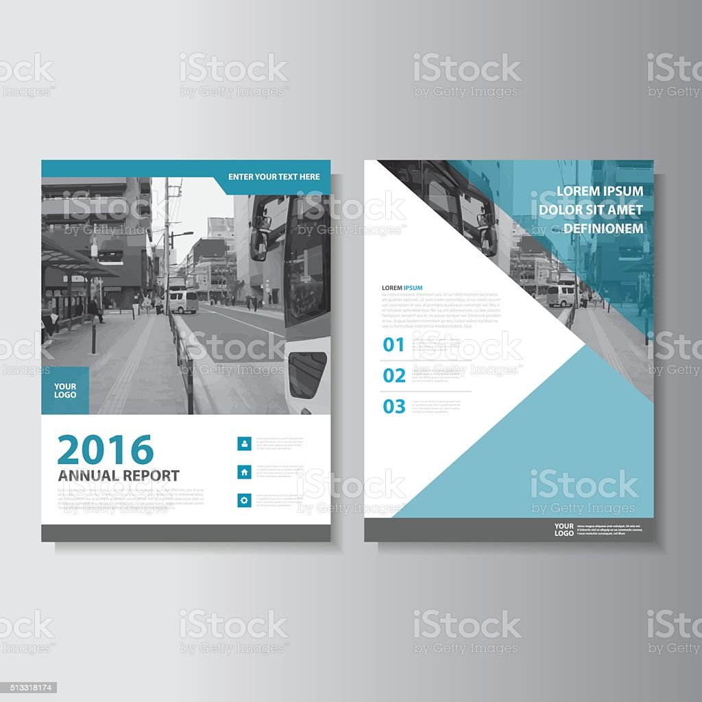Blue Vector Annual Report Leaflet Brochure Flyer Template Set Stock ...