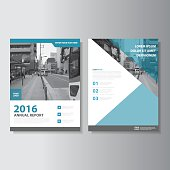 Blue Vector annual report Leaflet Brochure Flyer template set