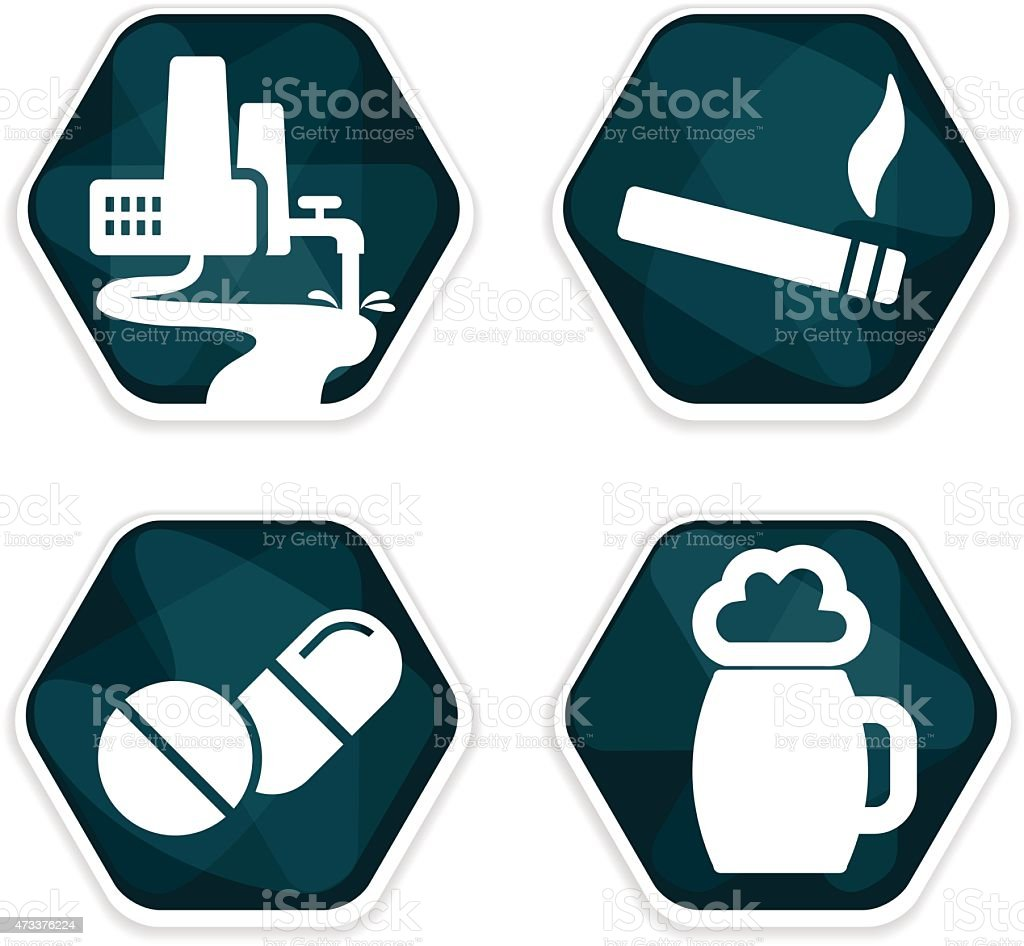 Blue vector cancer risk factors icons set vector art illustration
