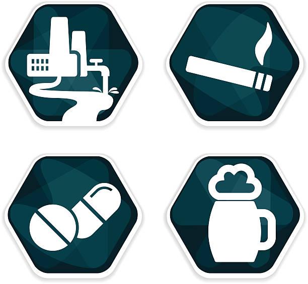 stockillustraties, clipart, cartoons en iconen met blue vector cancer risk factors icons set - amfetamine