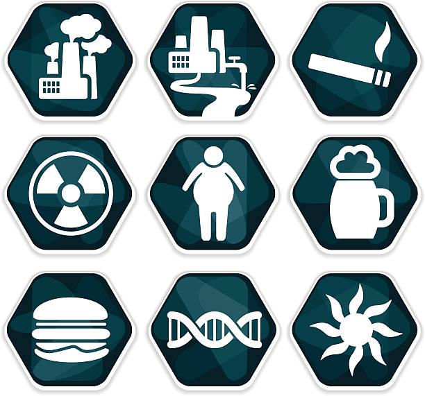 Blue vector cancer risk factors icons set vector art illustration