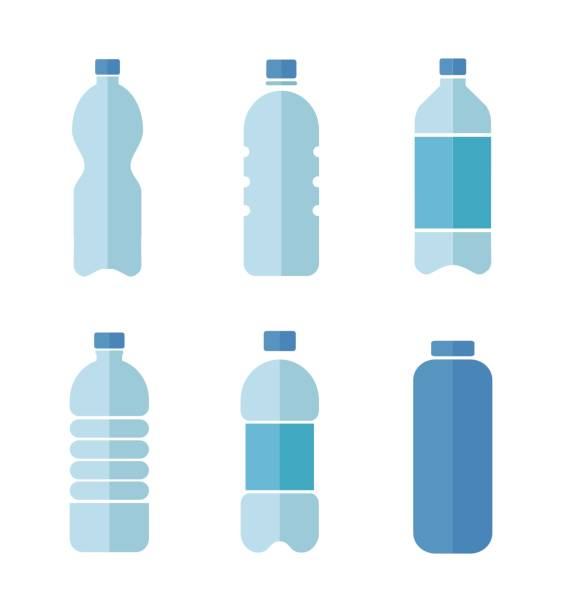 Blue vector flat design icons set of plastic bottles with clean water isolated on white background Blue vector flat design icons set of plastic bottles with clean water isolated on white background. bottle stock illustrations