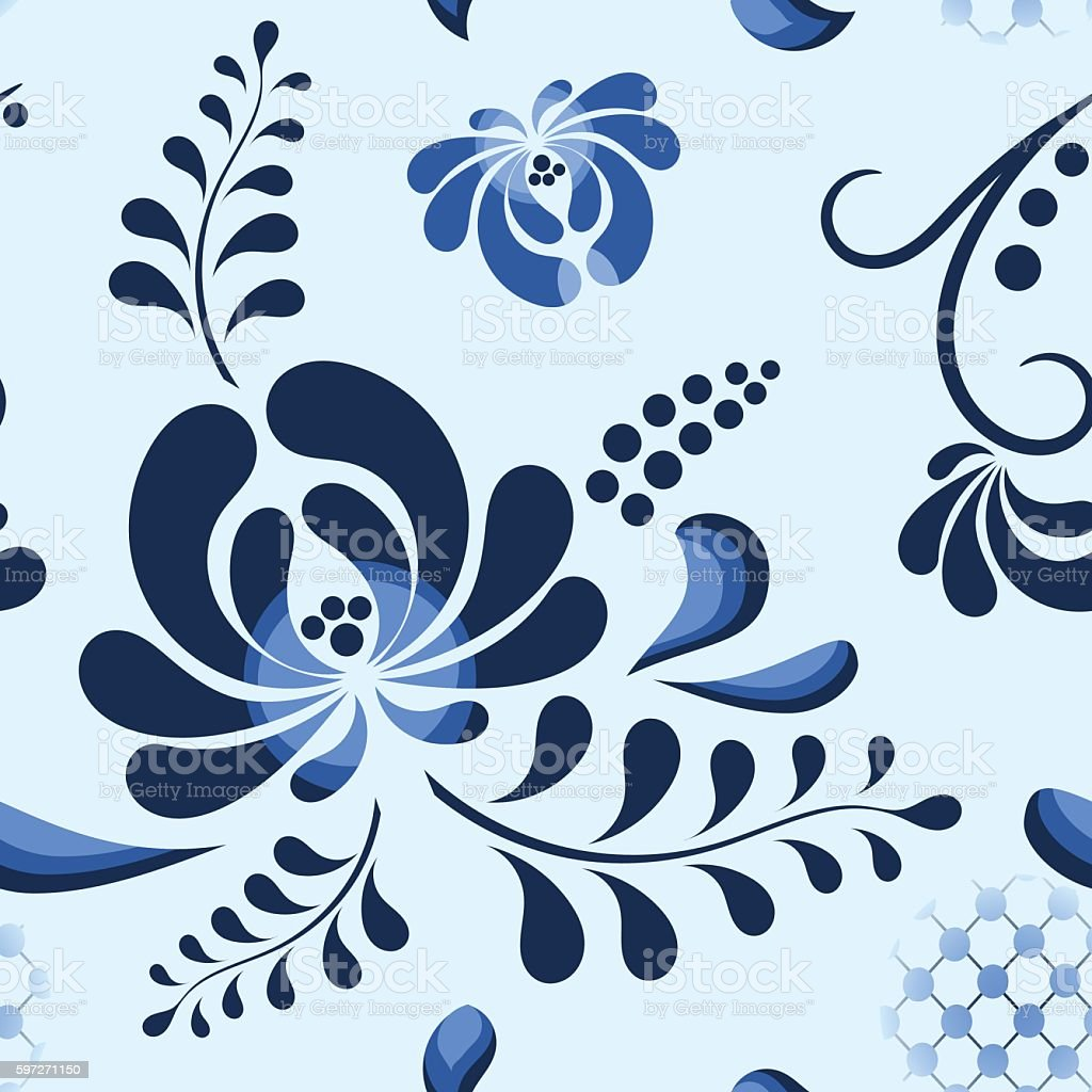 Blue Vector Floral Pattern in russian style. royalty-free blue vector floral pattern in russian style stock vector art & more images of backgrounds
