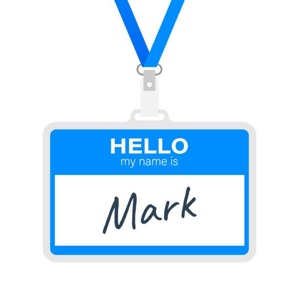 """블루 벡터 """"안녕 내 이름은"""" 라벨 스티커 흰색 배경. 벡터 일러스트입니다. - 신분 stock illustrations"""
