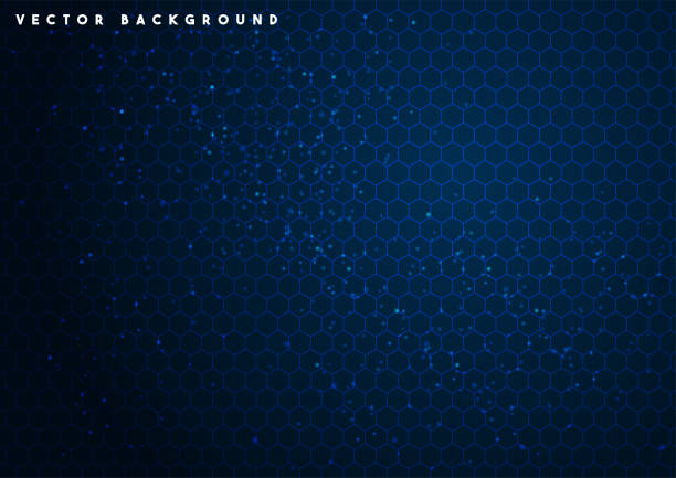 Blue vector hexagon technology background Blue vector hexagon technology background blue backgrounds stock illustrations