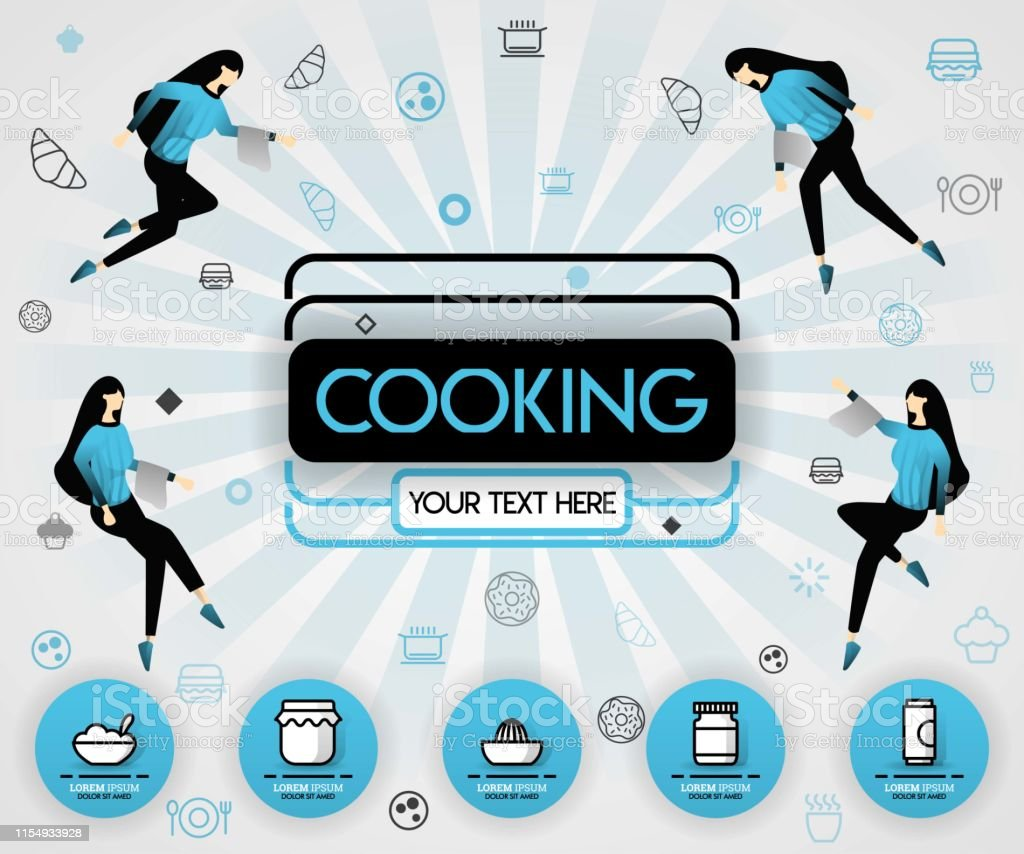 blue vector illustration concept. Cooking book and food cover book....