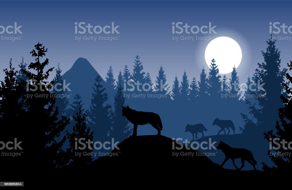 Blue vector landscape with a pack of wolves in dense forest with glowing moon. - Royalty-free Adventure stock vector