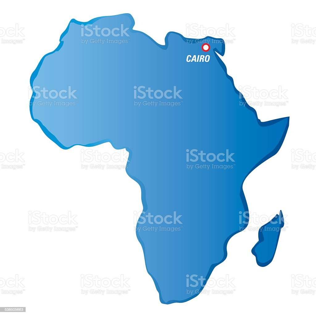 Cairo Africa Map Blue Vector Map Of Africa And Cairo Stock Illustration   Download