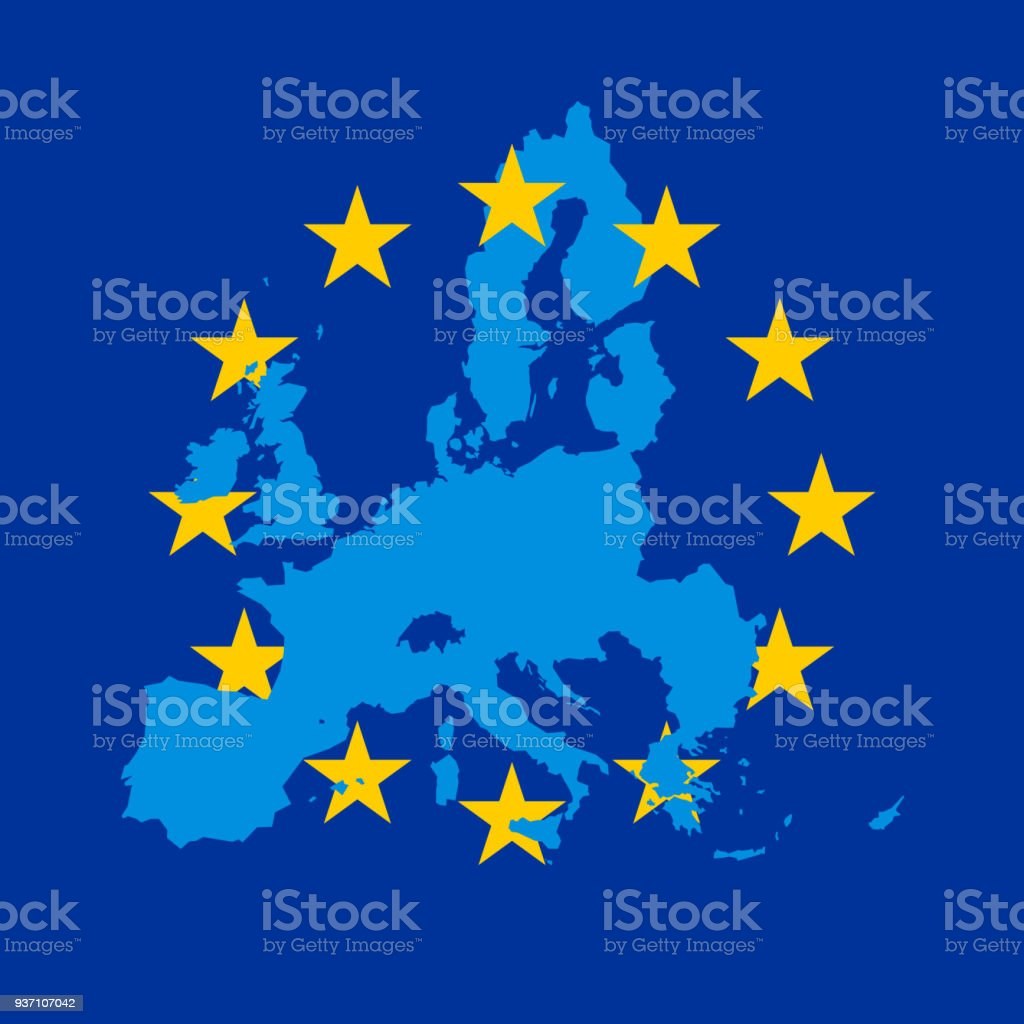Blue vector map of European Union combined with 12 yellow stars of EU flag