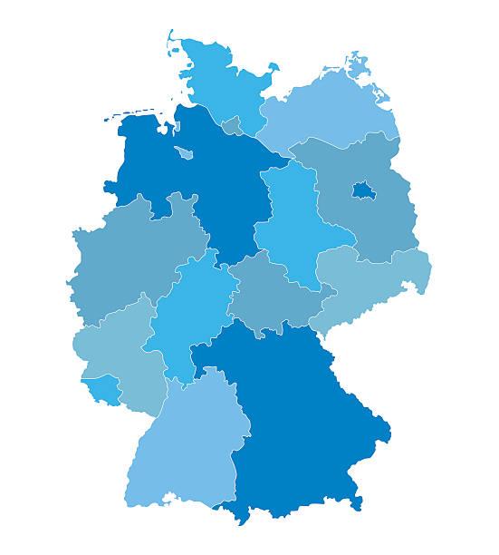 niebieski wektor mapę z niemiec - niemcy stock illustrations