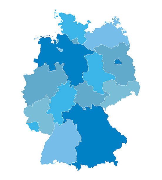 blue vector map of Germany blue vector map of Germany (all federal states on separate layers) germany stock illustrations