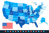 USA Blue Vector Map with National Flag and Navigational Icons