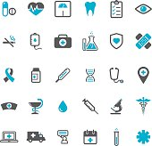 Blue vector medical icons set