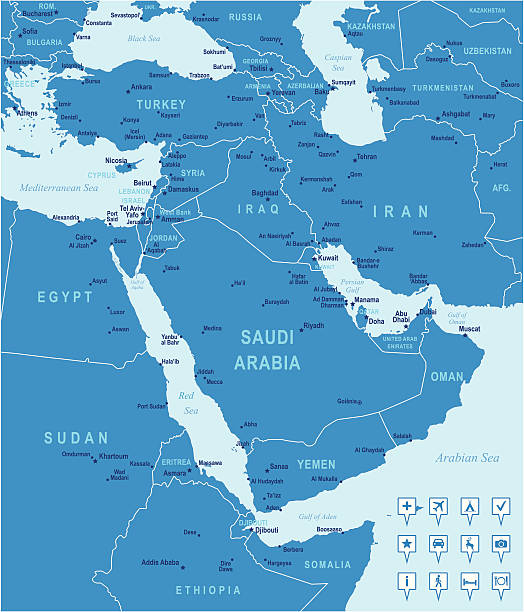 Blue vector Middle East map Highly detailed vector map of Middle East with countries, capitals and big cities. turkey middle east stock illustrations