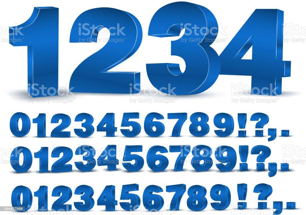 Blue vector numbers - ilustração de arte em vetor