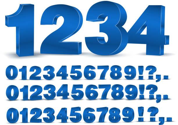 Blue vector numbers vector art illustration