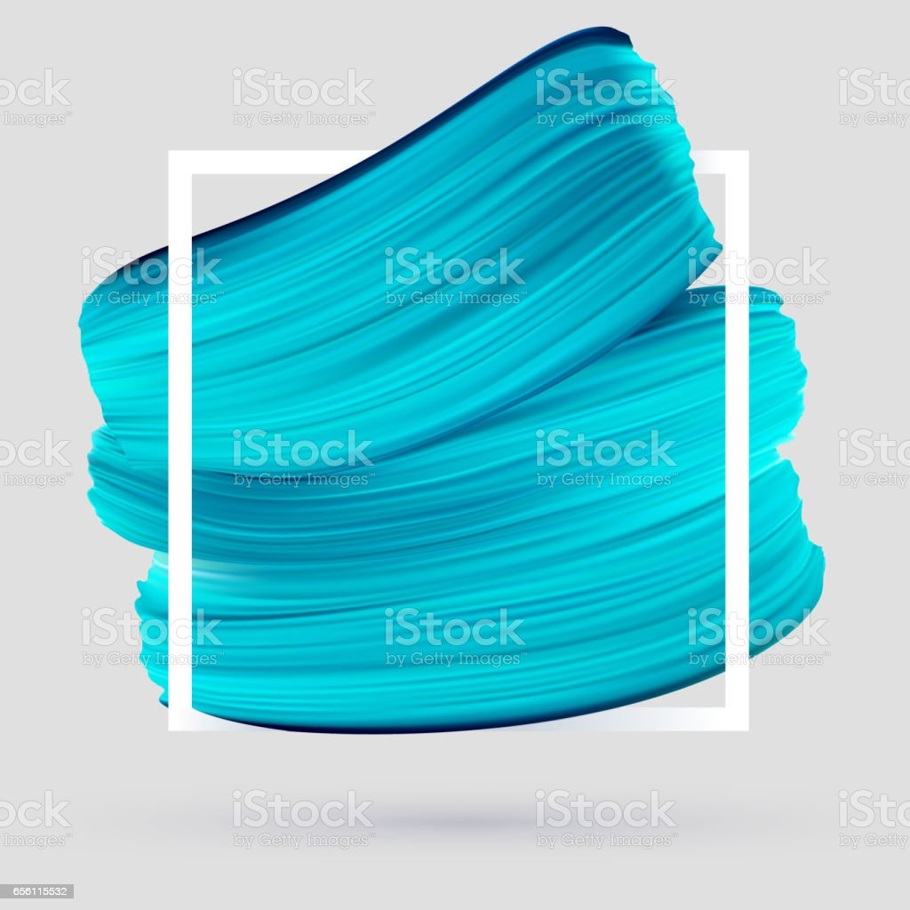 Blue vector paint brush smear on gray background