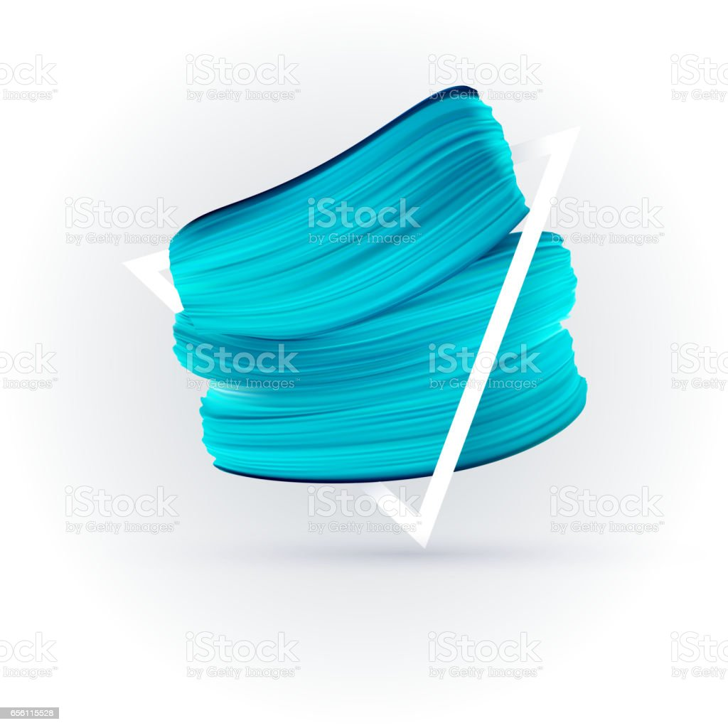 Blue vector paint brush smear on white background vector art illustration