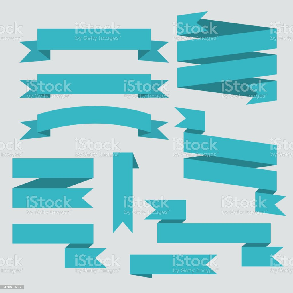 Blue vector ribbons set vector art illustration