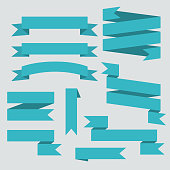 Blue vector ribbons set