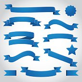 Blue curling ribbons and banner vector illustration. Write your own messages on these ribbons and banners.