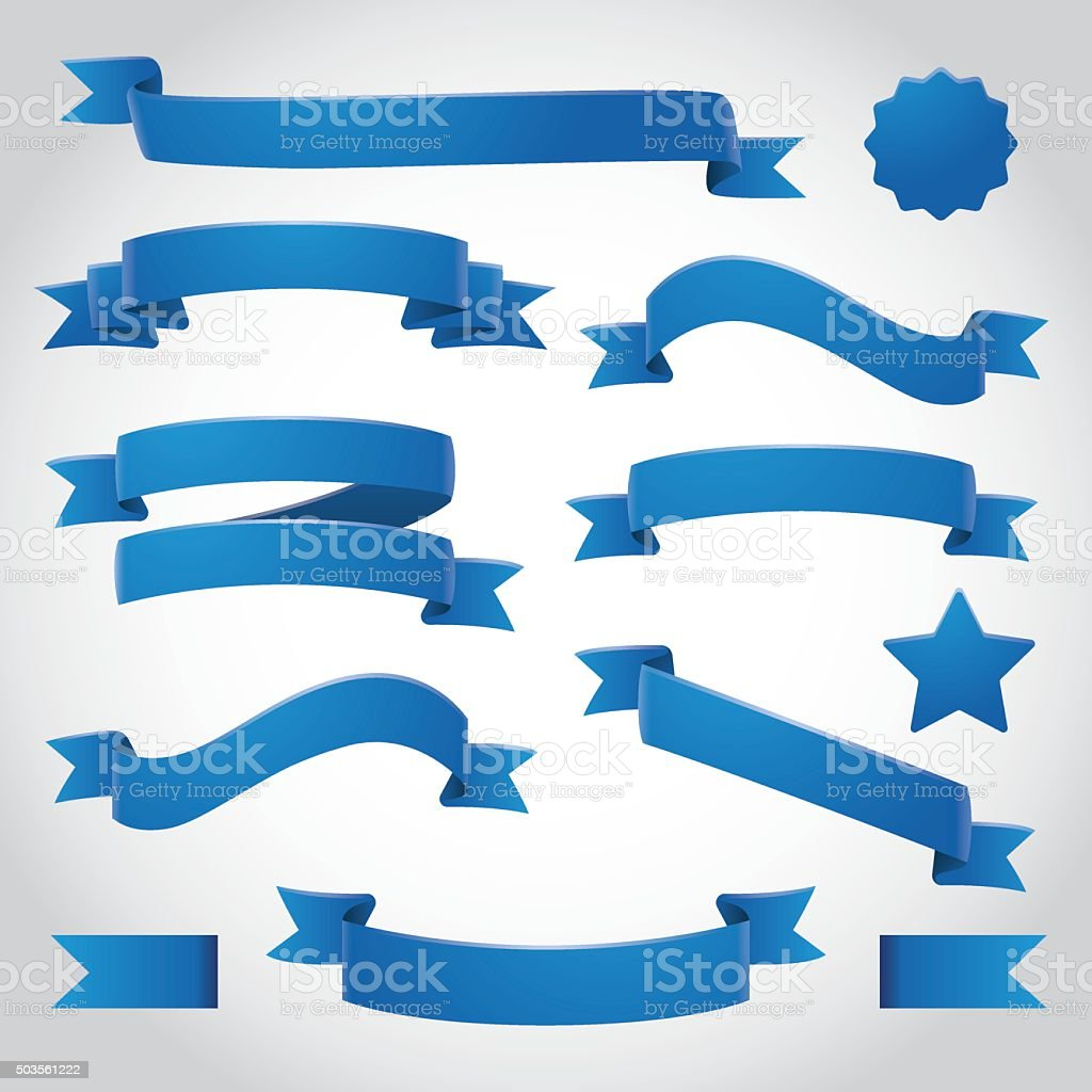 Blue Vector Ribbons Set vector art illustration