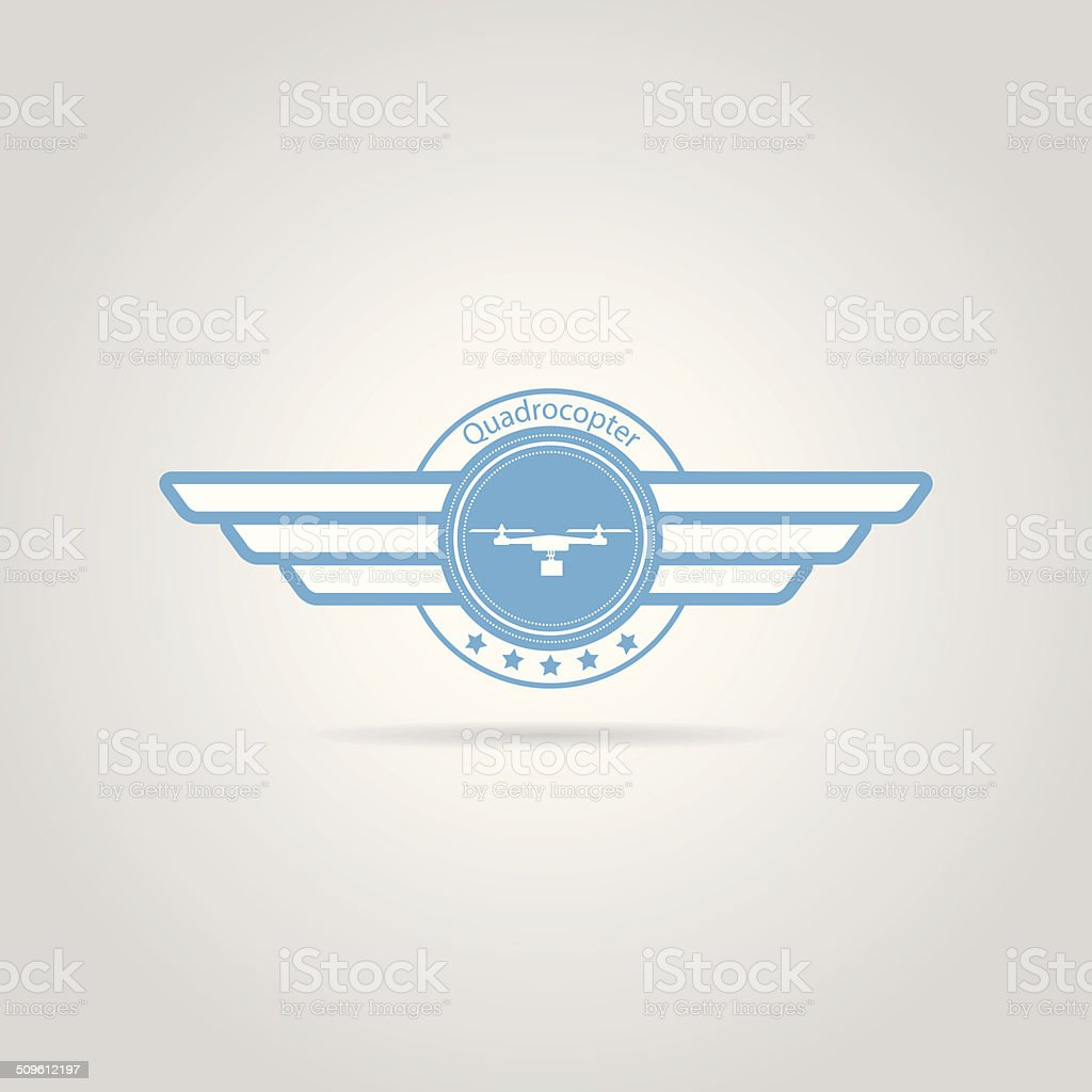 Blue vector sign of quadrocopter with wings vector art illustration