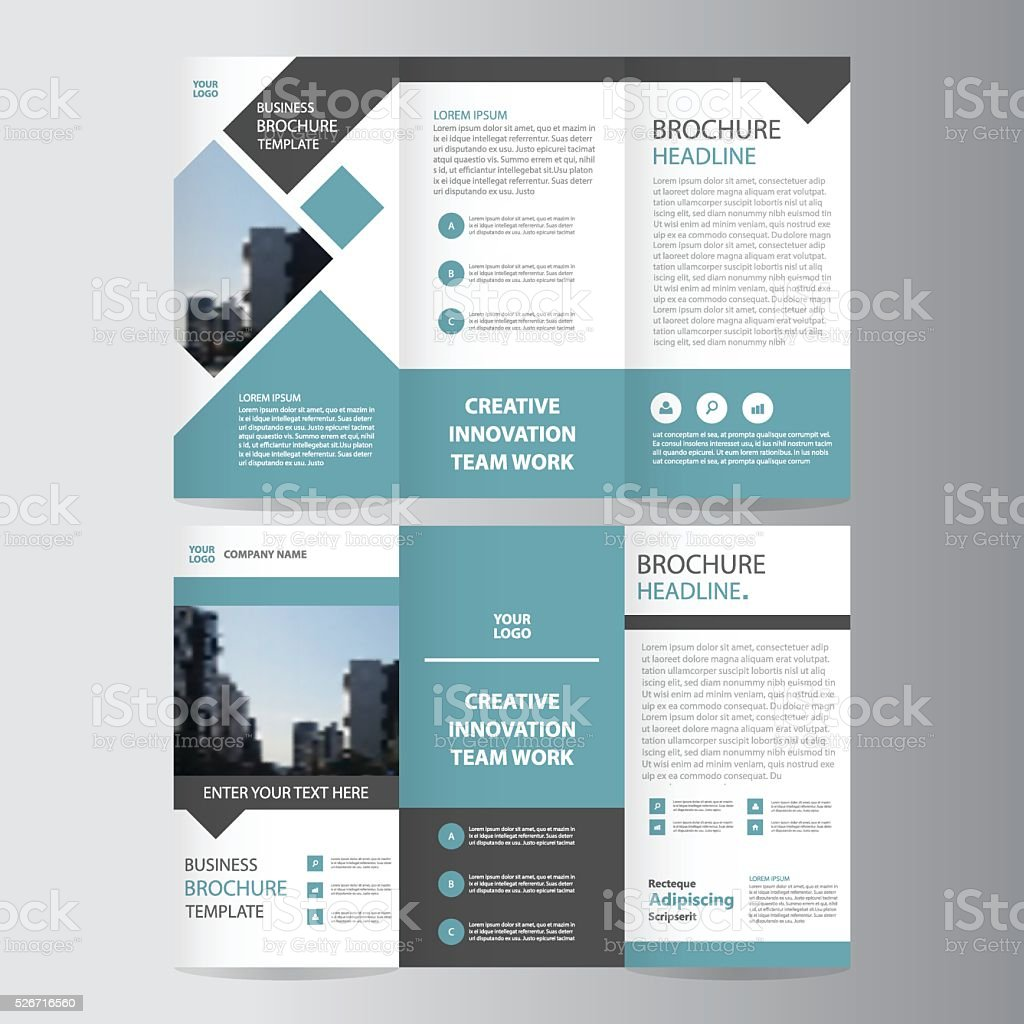 Connu Blue Vector Trifold Leaflet Brochure Flyer Template Flat Design  XQ34