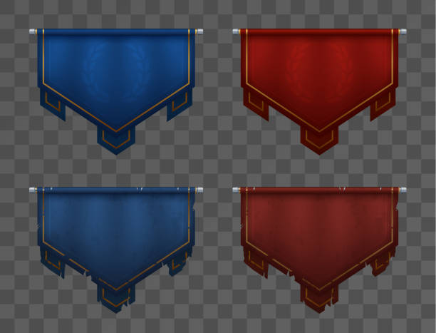 blue versus red team banners on poles. medieval pennants, old and new. victory and defeat. asset for game ui. - средневековье stock illustrations