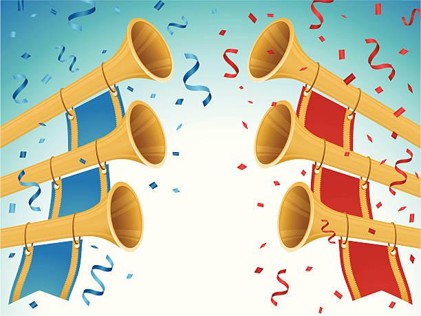 blue rote team im vergleich zur konkurrenz - fanfare stock-grafiken, -clipart, -cartoons und -symbole