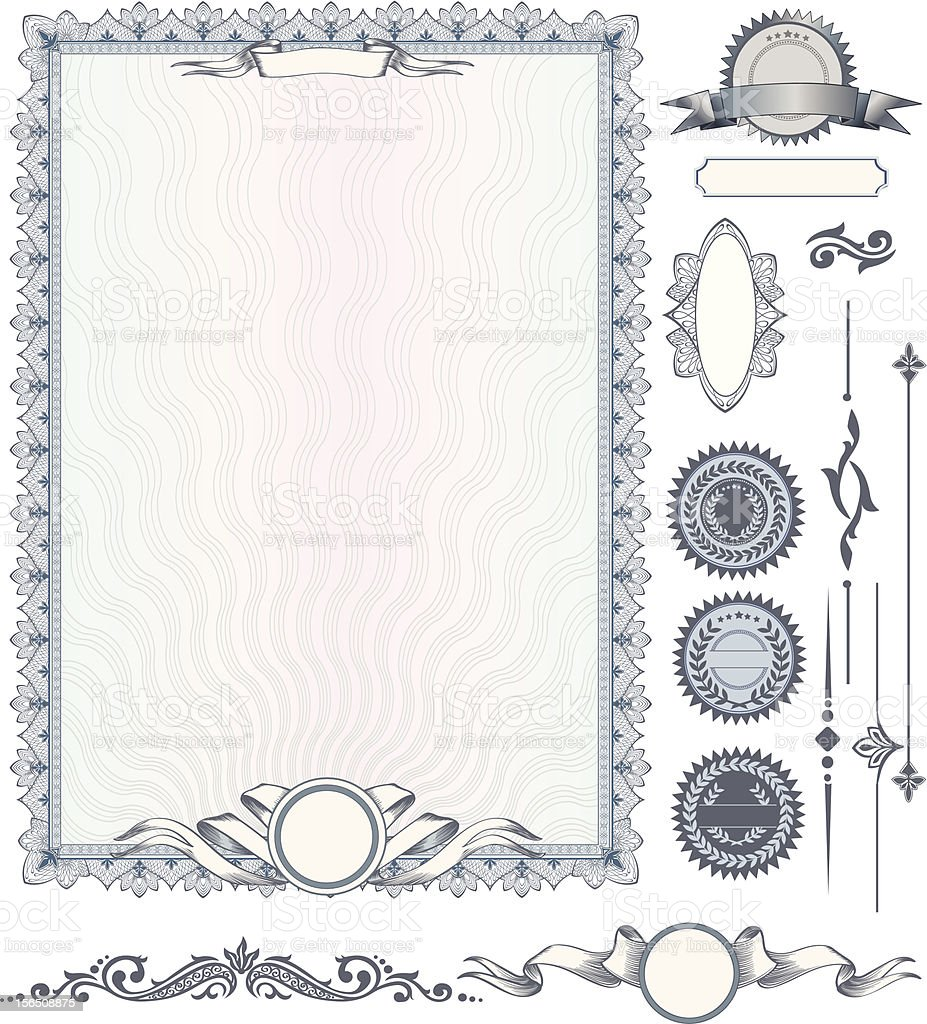 Blue vertical certificate template with additional design elements vector art illustration