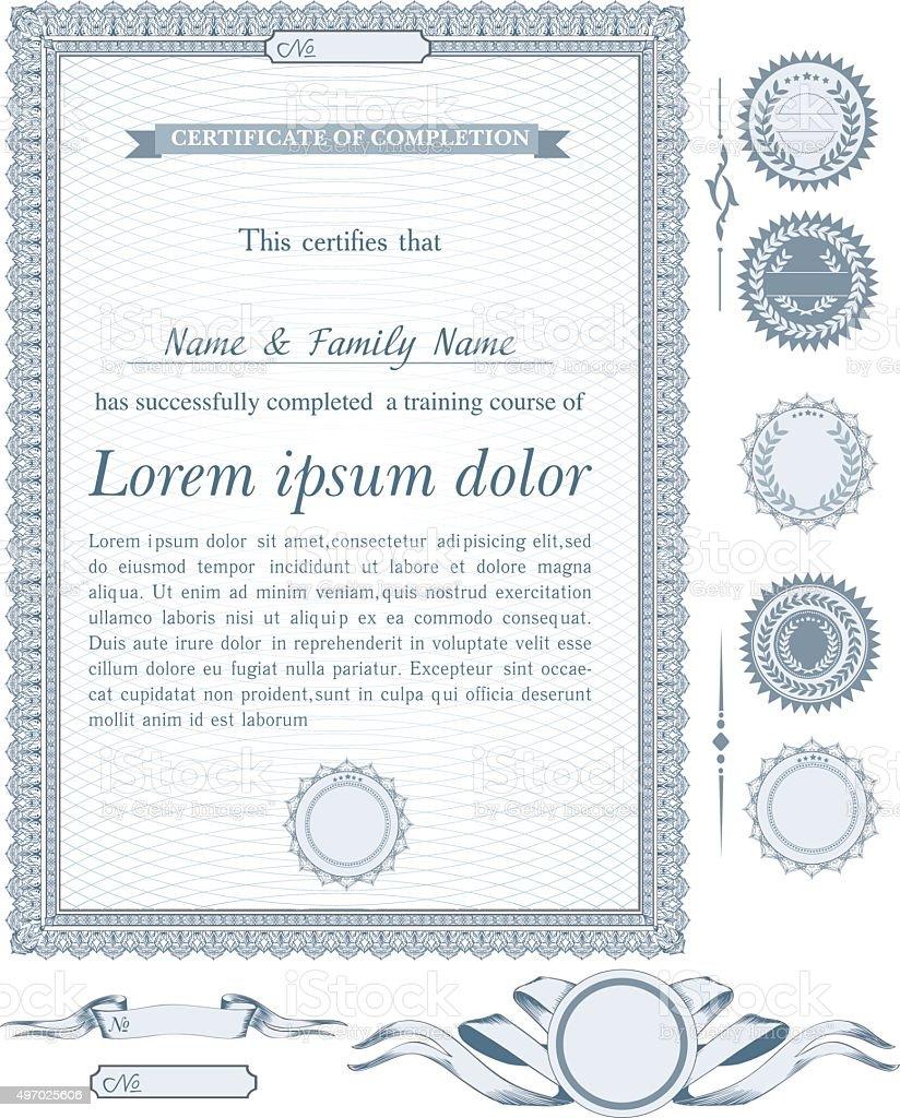 Azul Vertical Certificado Plantilla Con Otros Elementos De Diseño ...