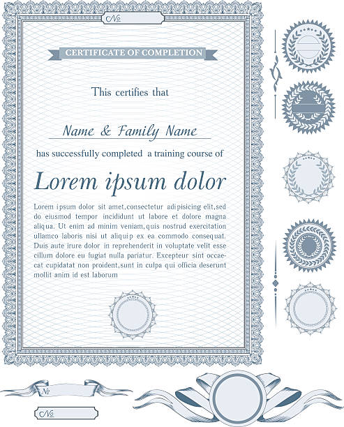 Blue vertical certificate template with additional design elements Blue vertical certificate template with additional design elements banking borders stock illustrations
