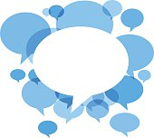 Blue vibrant chat bubbles on white background. Hires JPEG (5000 x 5000 pixels) and EPS10 file included. Contains gradient mesh (EPS10).