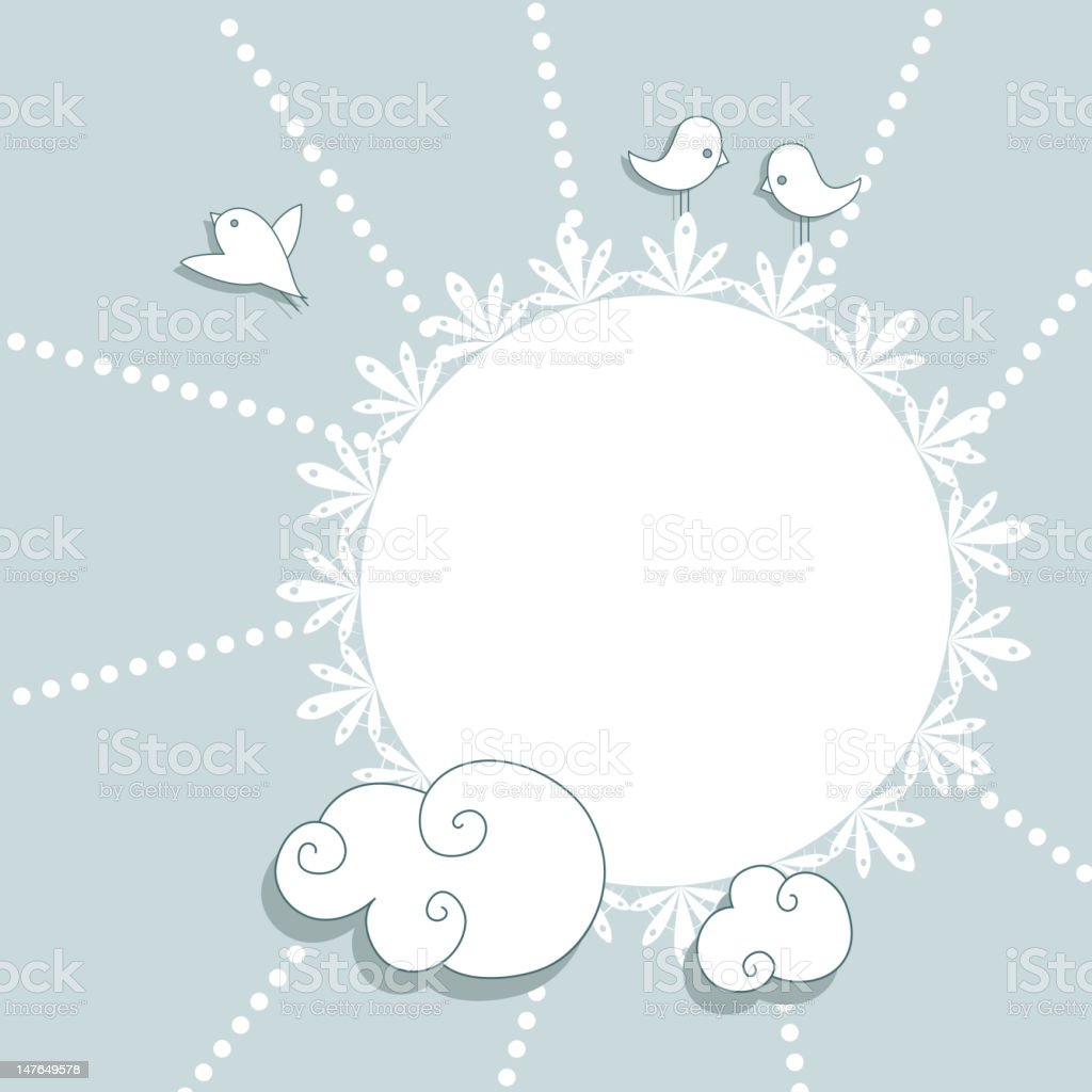 Blue vintage card with birds and clouds, digital scrap-booking royalty-free stock vector art