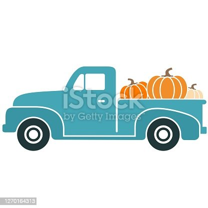 Fun, colorful, retro pickup truck carrying pumpkins vector illustration.