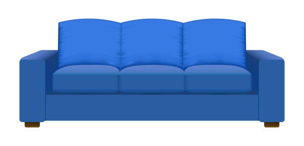 blaues vintage sofa mockup, realistischen stil - couch stock-grafiken, -clipart, -cartoons und -symbole