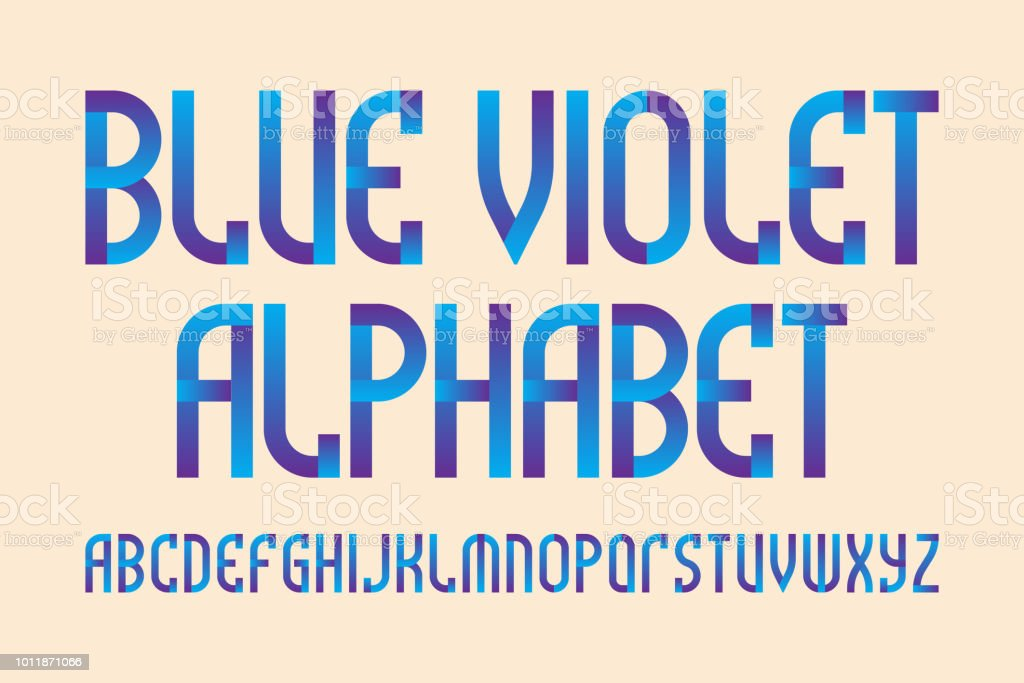 blue violet alphabet. Stylish vibrant font. Isolated English alphabet.