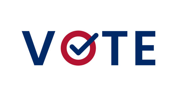 blue vote word with checkmark symbol inside. - vote stock illustrations