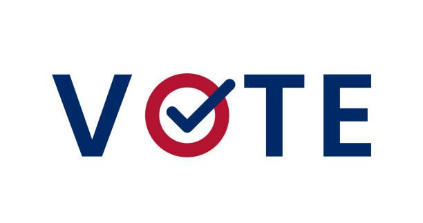 stockillustraties, clipart, cartoons en iconen met blauwe stem woord met vinkje symbool binnen. - vote