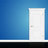 Blue wall abstract geometrical design with closed entrance white door in interior. Vector 3d illustration eps10
