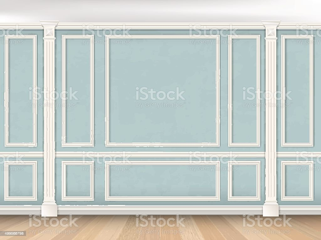 Blue wall with pilasters vector art illustration