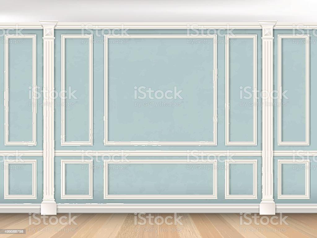 Parede azul com pilastras - ilustração de arte em vetor
